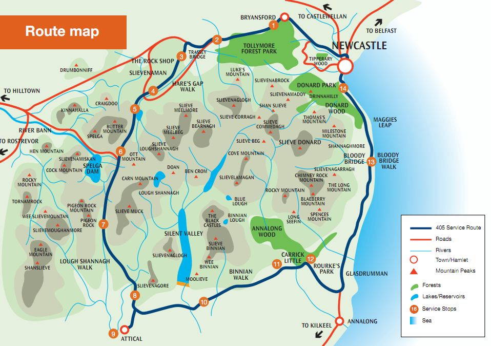 Mourne Mountains Map The Mourne Rambler Bus Service | The Mourne Mountains Mourne Mountains Map